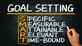 smart goal setting hand drawn on blackboard